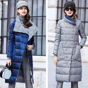 Image 3 - Ly Varey Linเป็ดลงเสื้อผู้หญิงฤดูหนาวหนาหนาสองลายสก๊อตเสื้อPlusขนาดอบอุ่นคู่หิมะลงParka
