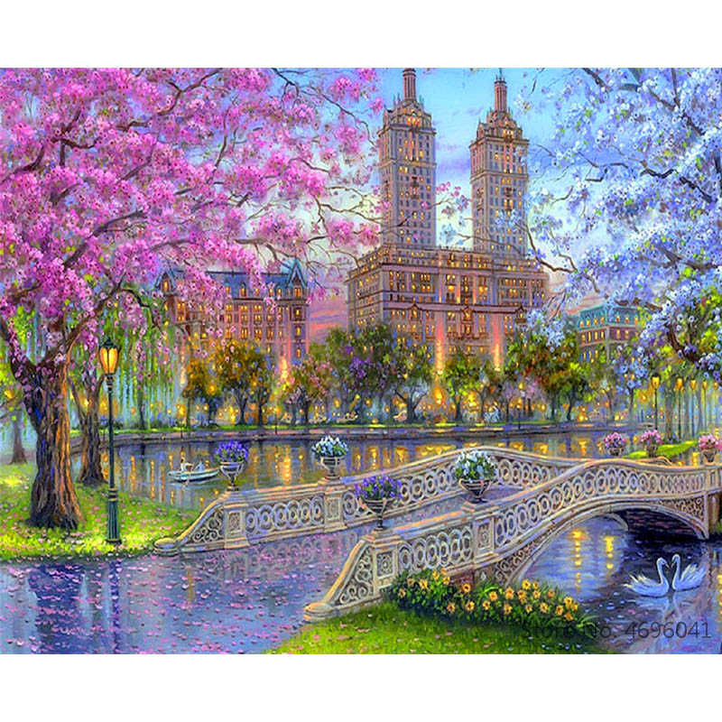 Painting By Numbers Frameworks Coloring By Numbers Home Decor Pictures Landscape Castle Decorations RSB8470