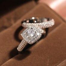 2 karaty diamentowa biżuteria 18K złoty pierścień dla kobiet mężczyzn zestaw dla nowożeńców Bizuteria ślub Anillos De z poduszką cyrkonu kamień pierścień