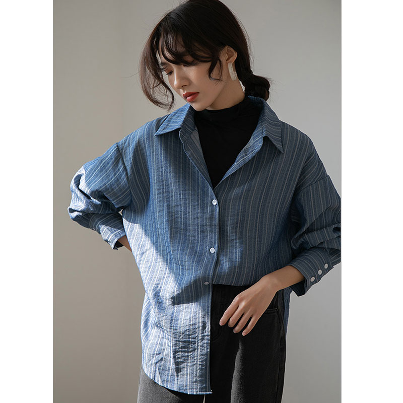 DIMANAF Plus Size Blouse Shirts Women Clothing Vintage Striped Office Lady Tops Tunic Casual Loose Long Sleeve Button Cardigan