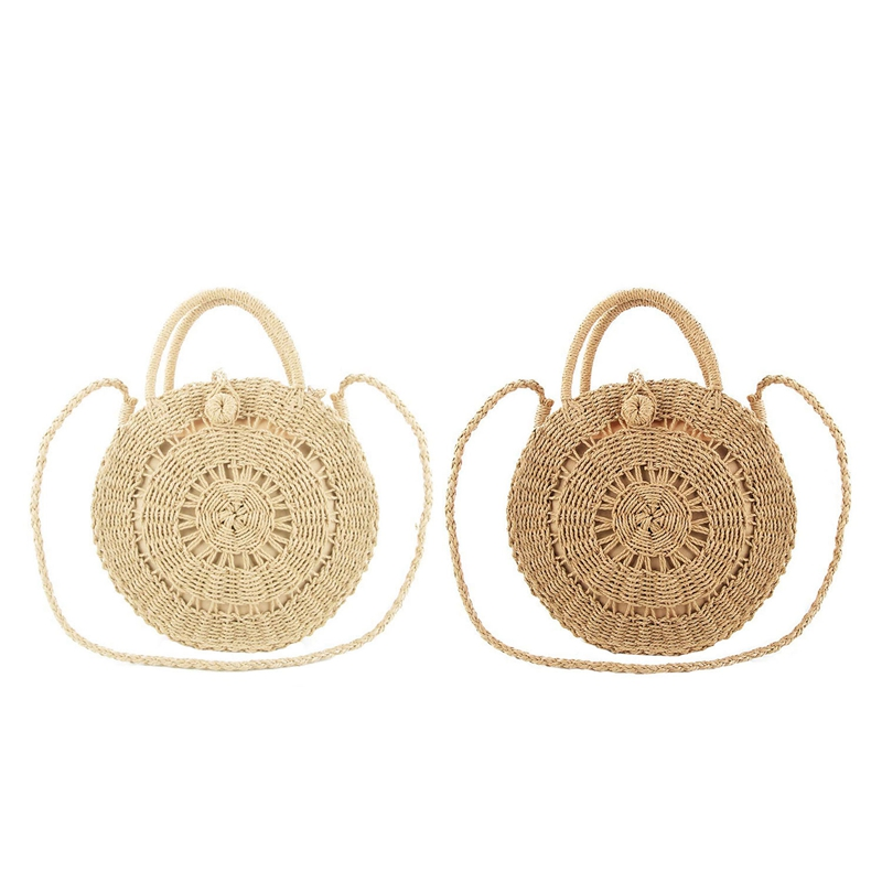 2Pcs Round Straw Shoulder Bag For Women Weave Crossbody Bag Top Handle Handbag Summer Beach Purse, Hollow Brown & Beige