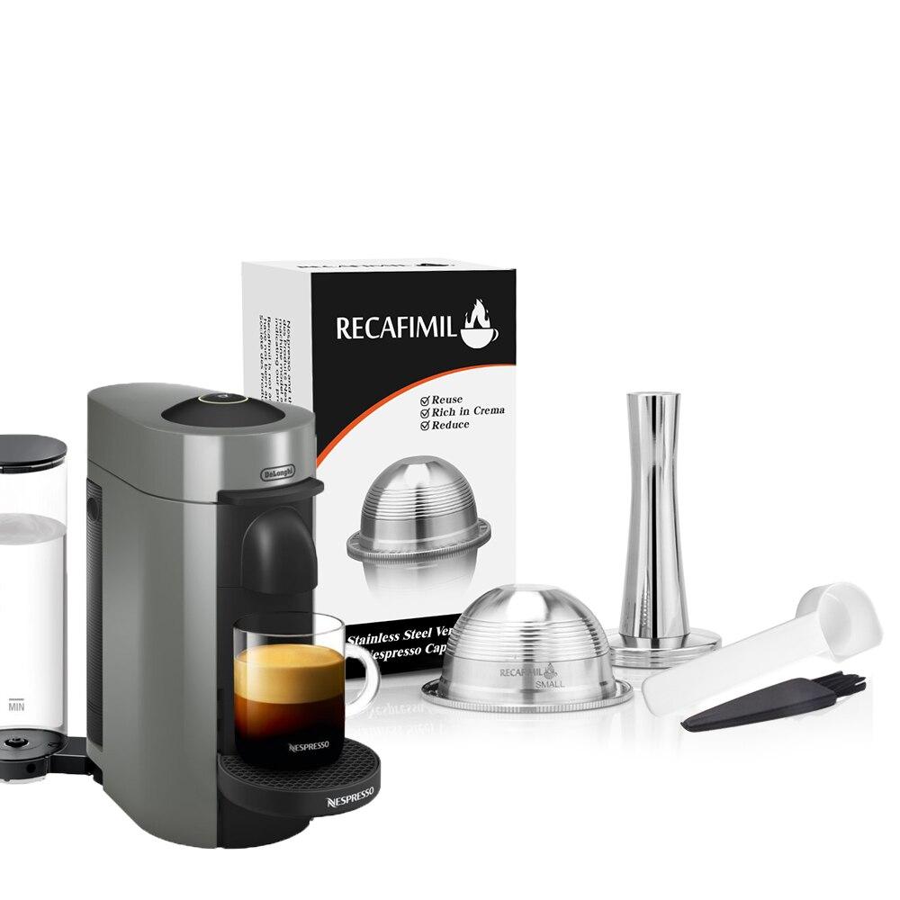 Ev ve Bahçe'ten Kahve Filtreleri'de Paslanmaz çelik kahve filtreleri Nespresso Vertuoline artı & Delonghi ENV150 doldurulabilir kahve kapsül Pod Vertuo artı
