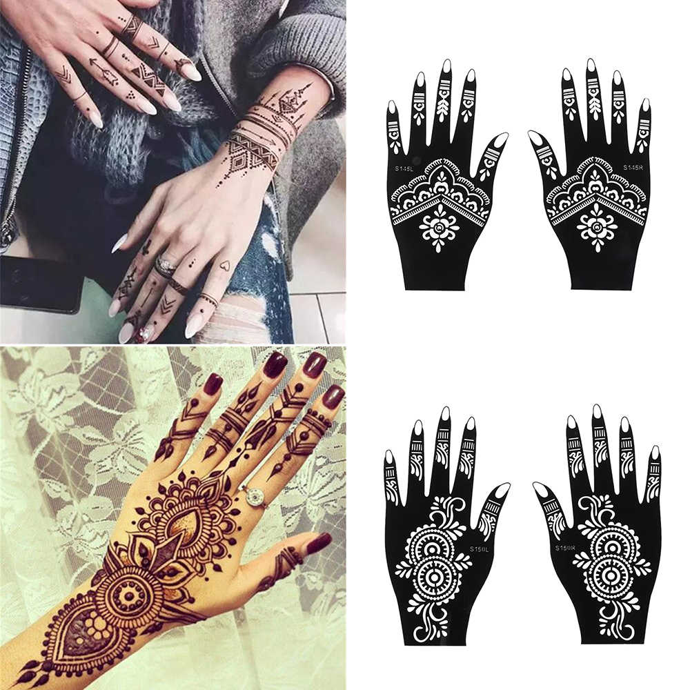 Mode Henna Tattoo Stencil Tijdelijke Hand Tattoos Diy Body Art Verf Sticker Template Indiase Bruiloft Schilderen Kit Tools