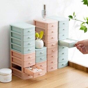 Plastic Makeup Organizer Mini Desktop Storage Box Cosmetic Drawer Organizer Jewelry Box Cotton Swabs Stick Storage Case Holder
