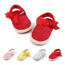 Baby Girl Newborn Shoes Spring Summer Sweet Very Light Mary Jane Big Bow Knitted Crib Shoes(China)