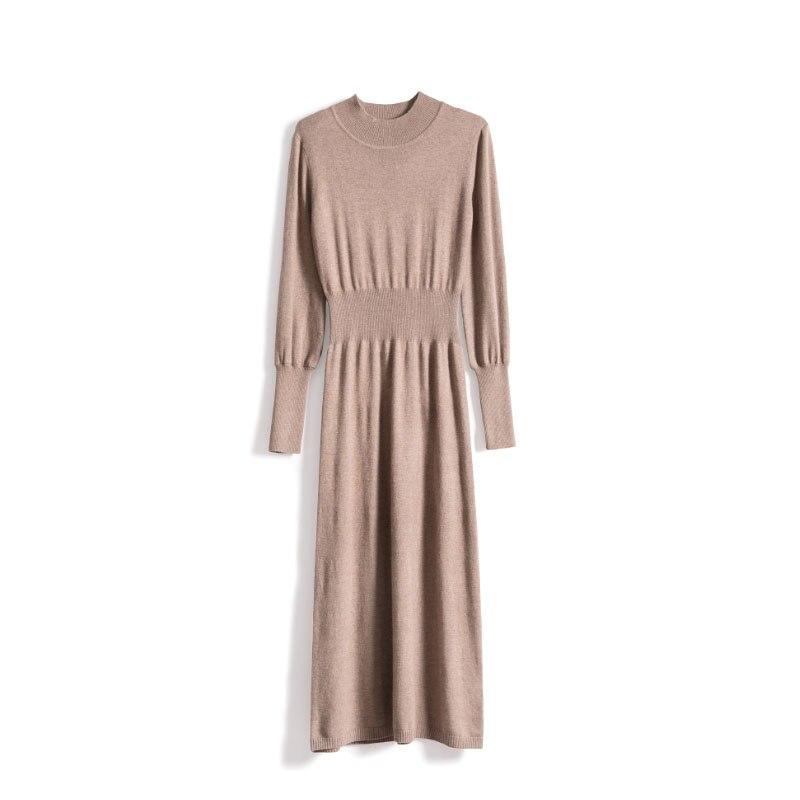 Femmes automne hiver robe en cachemire col roulé à manches longues a-ligne robes élégantes 2019 nouveau gris camel
