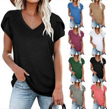 2021 New Summer Women's Tops V-Neck Cotton T Shirts Solid Color Short Sleeve Tees Casual Loose Pius Size Femmel T-Shirt