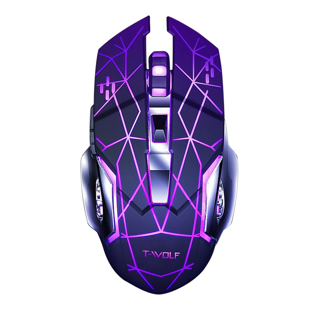 Q13 Rechargeable Wireless Mouse Silent Ergonomic Gaming Mice 6 Keys RGB Backlight 2400