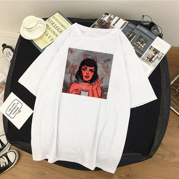 Summer Women T Shirt Angel Protect Me From My Devil Print Tshirt Harajuku Vintage Shirt Summer Vogue Tops Female T-shirt Clothes 1