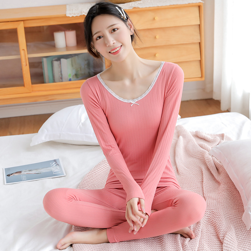 2019 Autumn Winter Women's Thermal Underwear Sets Sexy For Girls Lace Bow O-neck Warmth Slim Long Johns Suit B456