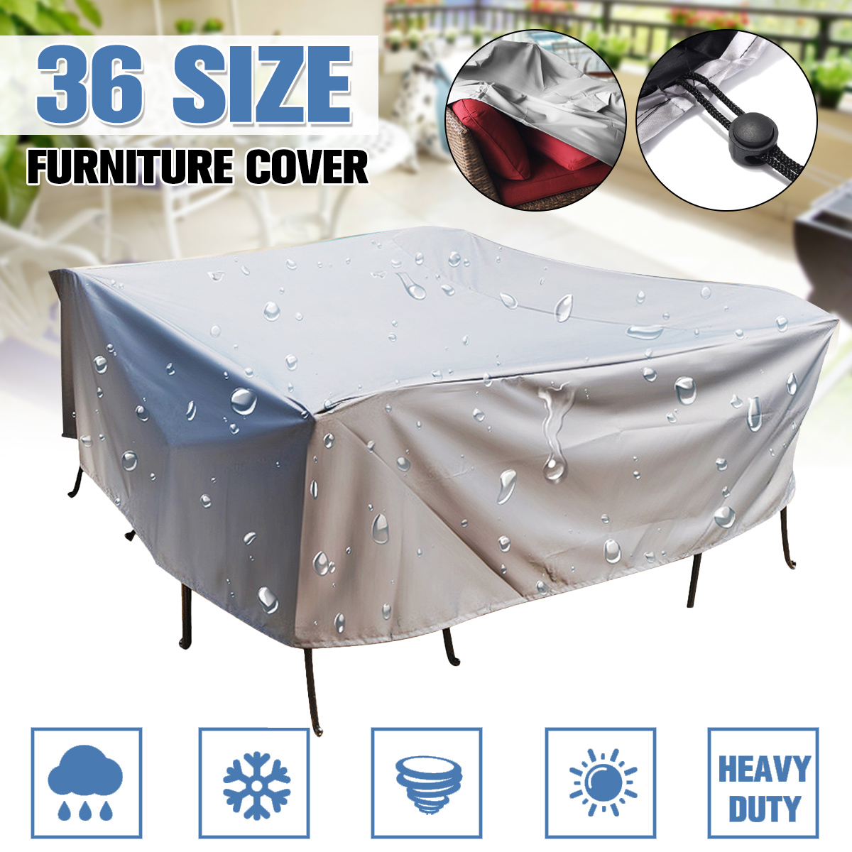 36Size Outdoor Cover Waterproof Furniture cover Sofa Chair Table Cover Garden Patio Beach Protector Rain Snow Dust Covers