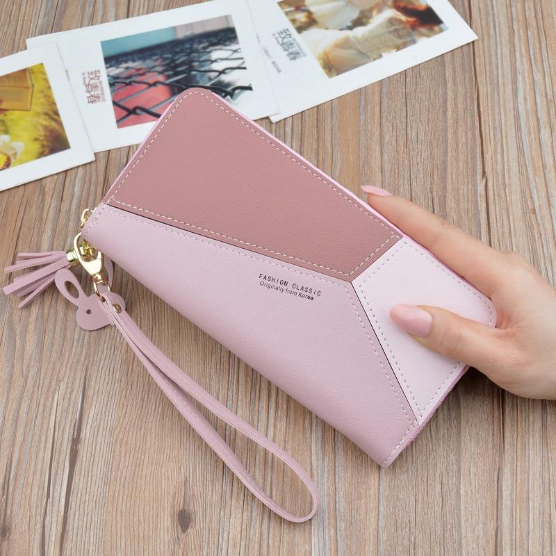 Women Wallets Purse Card-Holder Phone Pocket Tassel Geometric Patchwork Zipper Pink Lady