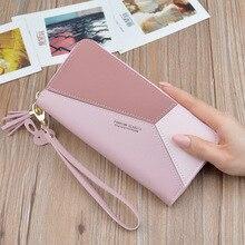 Geometric Women Wallets with Zipper Pink Phone Pocket Purse Card Holder Patchwork Long Wallet Lady Tassel Short Coin