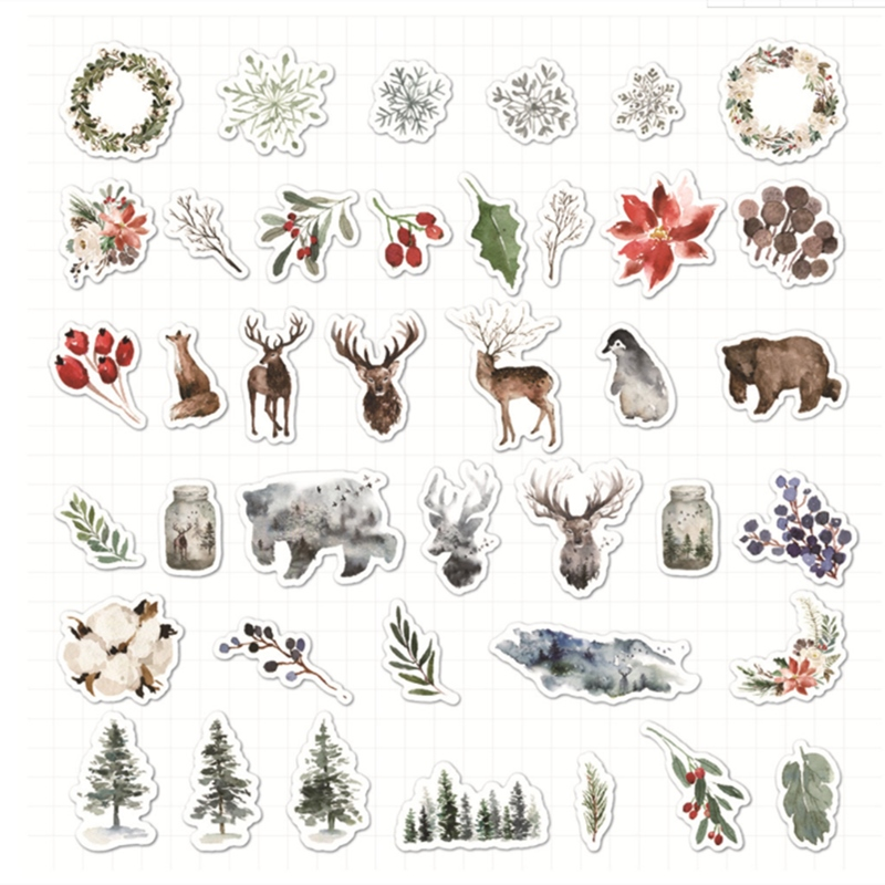 40pcspack Forest Deer Bullet Journal Decorative Cartoon Stickers Scrapbooking Stick Label Diary Stationery Album Stickers