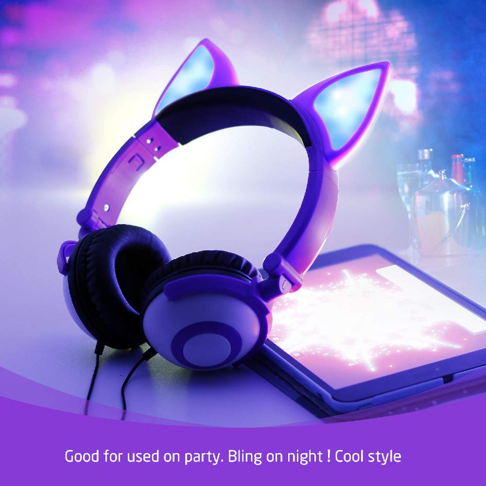 Foldable Flashing Music Gaming Earphone Children Over-Ear Headphones LED Light Wired Cat Ear Kids Headset For iPhone Laptop MP3 image