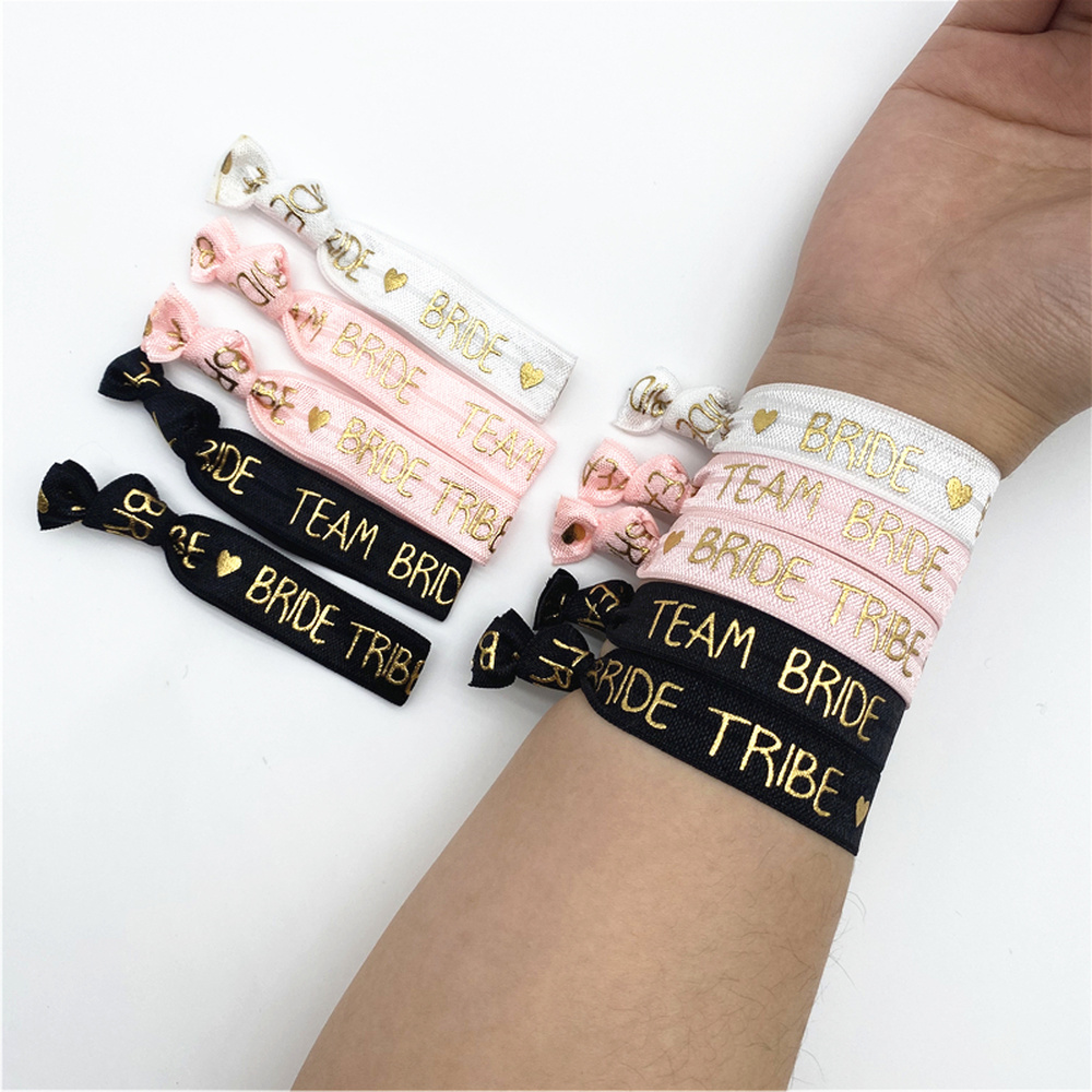 Combined Sale (1+10pcs) Hen Party Night Wedding Decoration Supplies Bachelorette Party Bracelet Team Bride To Be Bridal Shower