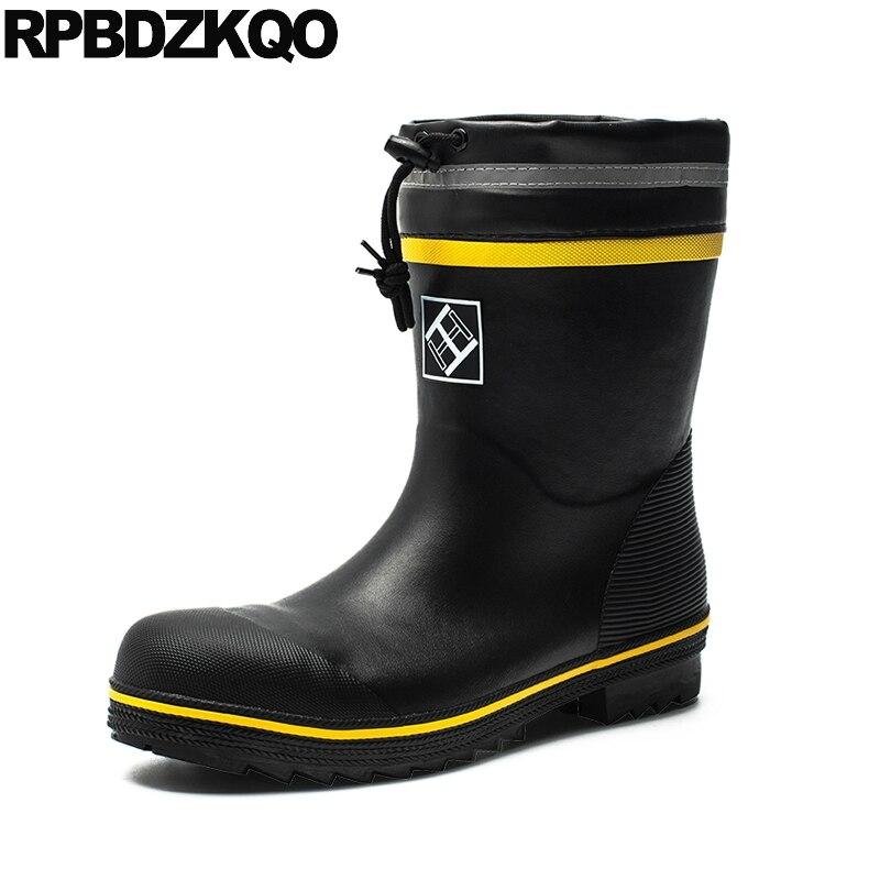 tall comfortable steel toe work shoes men boots plus size mid calf faux fur warm black flat rain winter 2019 lace up waterproof