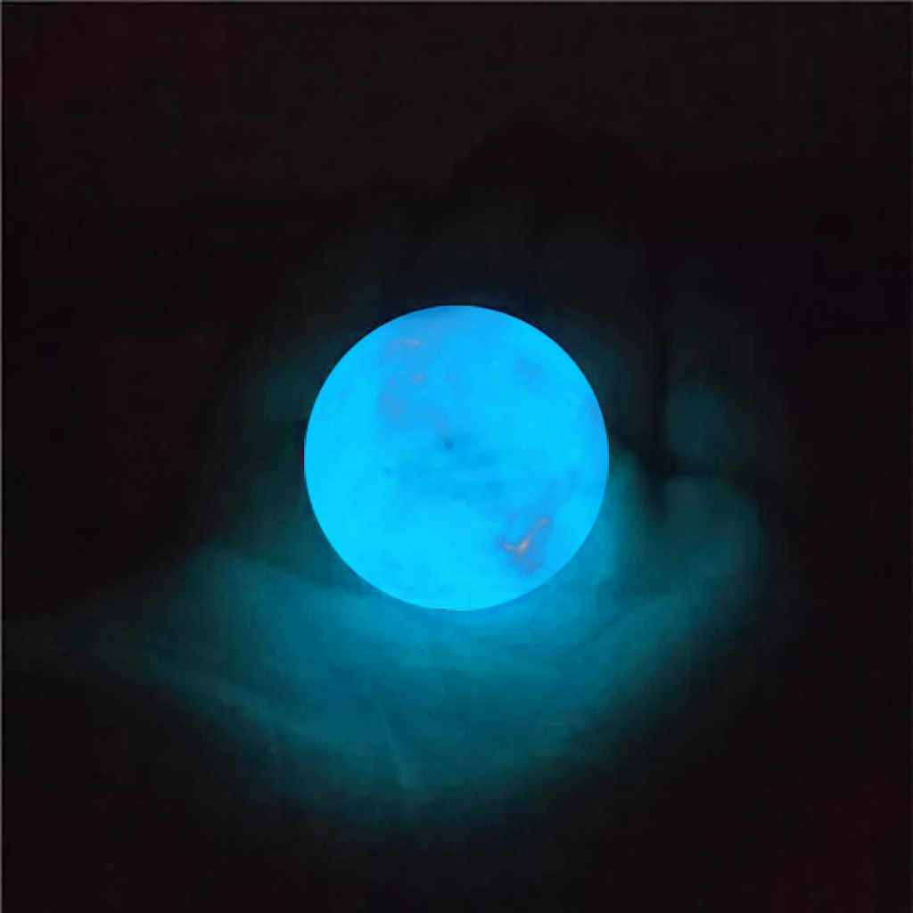 35MM Amazing Fluorescent Ball Blue Luminous Glowing Stone Quartz Crystal Sphere Bedroom Decoration Ball Glow Stone a Best Gift