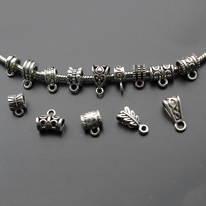 30pcs Tibetan Silver Clip Bail Beads Charm Necklace Pendant Clasp Connector Bail Beads For Jewelry Making Findings DIY Supplies