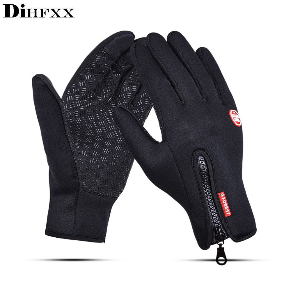 Windstopers Handschuhe Anti Slip Winddicht Thermische Warme Touchscreen Handschuh Atmungsaktive Tactico <font><b>Winter</b></font> Männer Frauen <font><b>Black</b></font> Zipper Handschuhe image