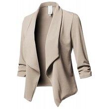 Kobiety Blazer kurtki damskie Retro garnitury płaszcz Feminino OL Blazers odzież wierzchnia Plus rozmiar otwórz krótki przód sweter Plus rozmiar S 5XL