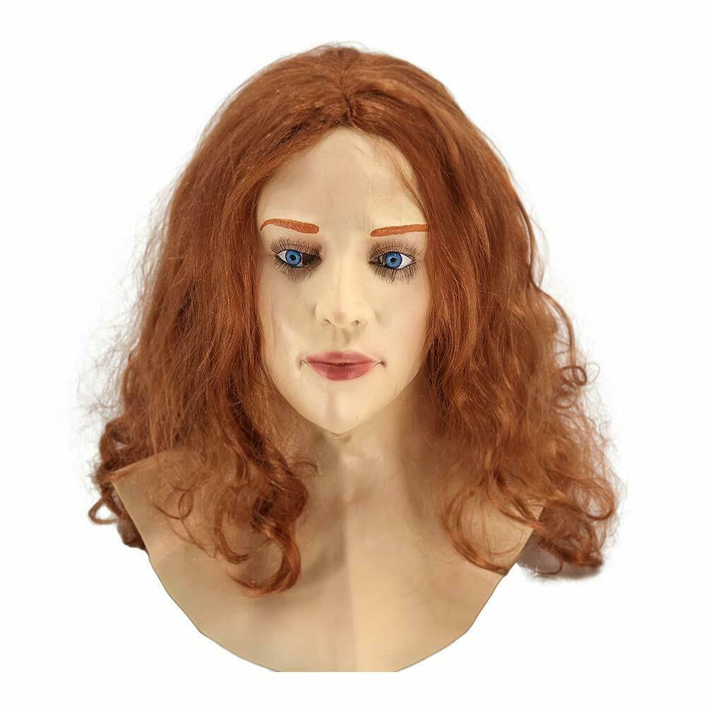 Women Mask Masquerade Party Costume Blondes Cosplay Latex mask Mascara Realistic Hair Beautiful Female Face Crossdressing Props