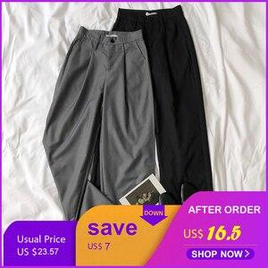 Office Suit Pants Women High Waist Gray Black Wide Leg Soft Summer Long Pants