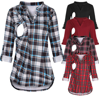 цена на 2020 Autumn and Winter Plaid Printed Nursing Pregnant Women Long-Sleeved Upper Garment Shirt T-shirt V-neck