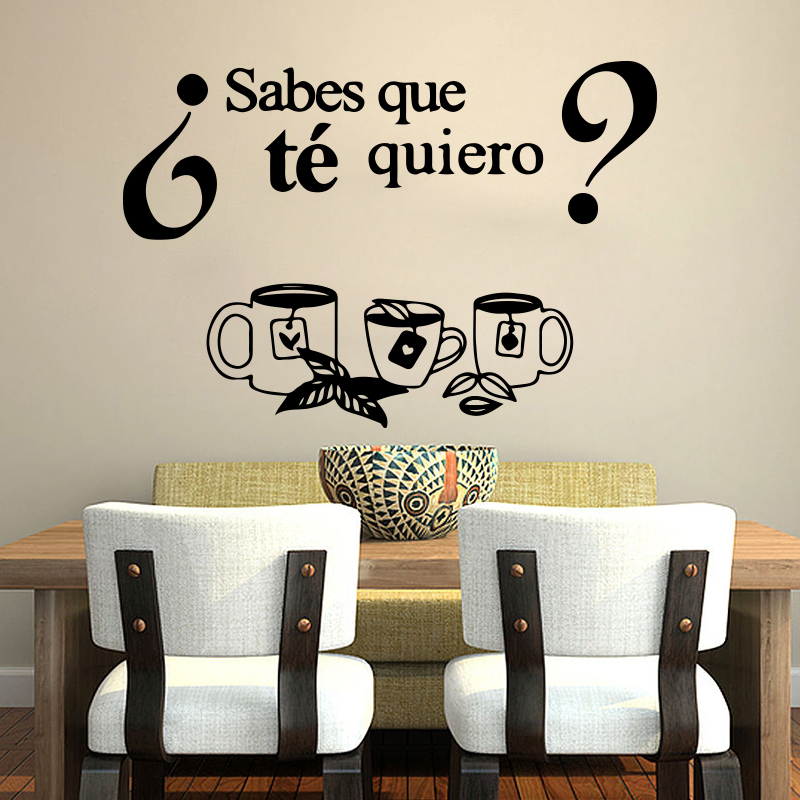 Spanish Kitchen Cocinas - Sabes que té quiero Wall Sticker Kithcen Do you know what tea I want Wall Decal Dinning Room Vinyl image
