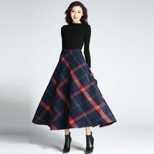 Faldas mujer,, клетчатая Зимняя юбка, элегантная, офисная, винтажная, шерстяная, для женщин, высокая талия, плиссированная, тартан, длинная юбка, fw636