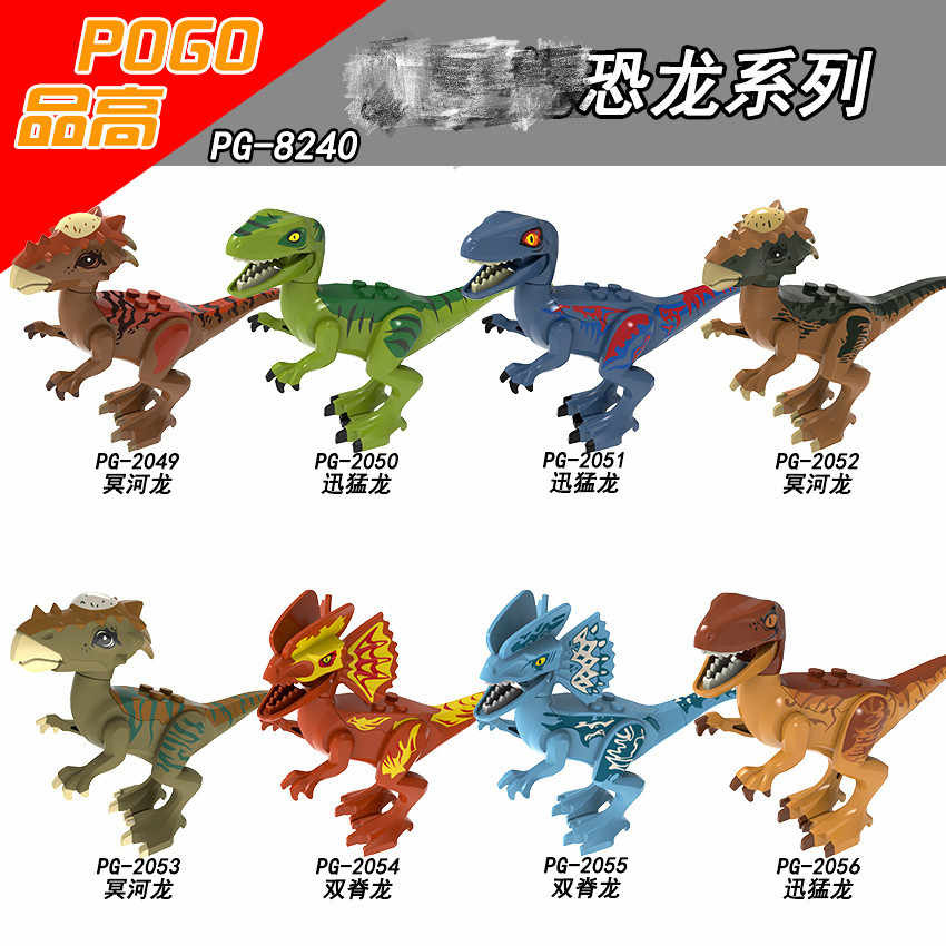 Legoing Dinosaurs Jurassic Dinosaurs Velociraptor with Baby Dinosaur Egg Building Blocks Toys for Children Assemble Figures