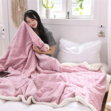 High Quality Flannel Bed Blanket Super Soft Warm Fleece Mesh Pattern Towel for Aircraft Car Travel