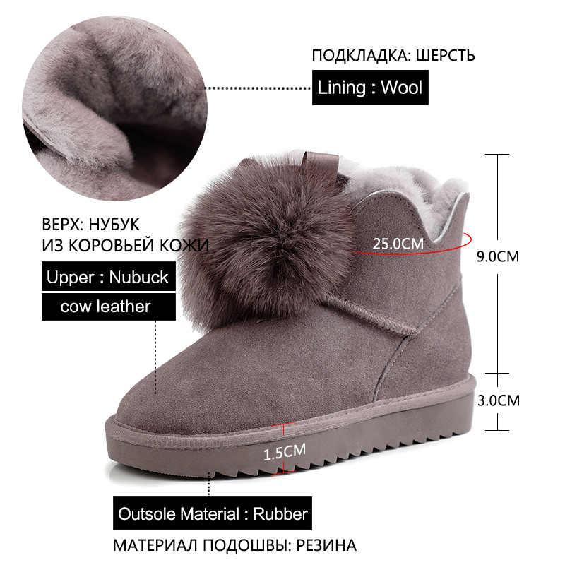 Donna-in sıcak kürk kadın ayak bileği kar botları düz topuklu yuvarlak ayak yün astarlı kadın kışlık botlar süet kayma üzerinde kar ayakkabıları açık