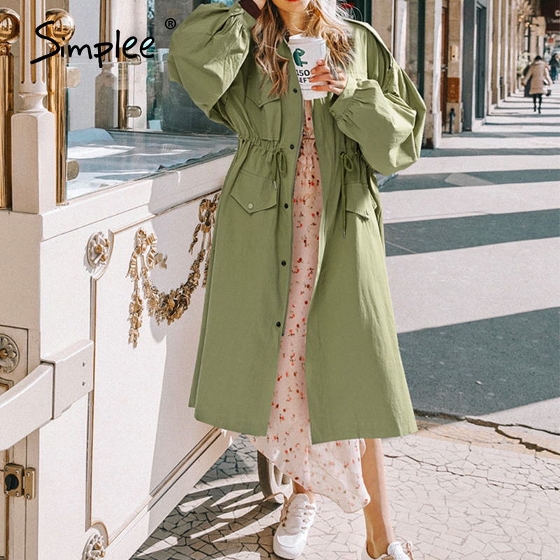 Simplee Casual Office Ladies Trench Coat Zipper Buttons Lace Up Female Long Trenches Long Sleeve Loose Straight Ladies Overcoats