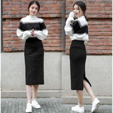 Turtleneck Sweater Pullover Jumper and Knitted Slim Bodycon Long Skirt Women Set Two Piece Suit 2020 Autumn Winter Lady Clothes(China)