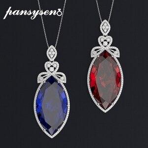 Image 1 - PANSYSEN nowy projekt ślub marka Big Mariquesa Ruby Sapphire wisiorek naszyjniki dla kobiet srebro 925 biżuteria naszyjnik Party prezent