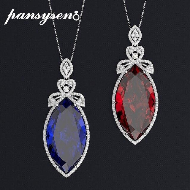 PANSYSEN nowy projekt ślub marka Big Mariquesa Ruby Sapphire wisiorek naszyjniki dla kobiet srebro 925 biżuteria naszyjnik Party prezent
