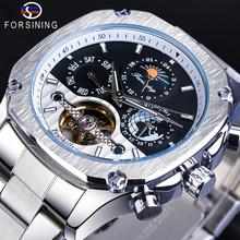 Forsining Automatic Watch Mens Tourbillon Mechanical Silver Square Stainless Steel Moonphase Male Self-Winding Relogio Masculino