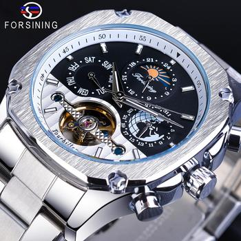 цена на Forsining Automatic Watch Mens Tourbillon Mechanical Silver Square Stainless Steel Moonphase Male Self-Winding Relogio Masculino