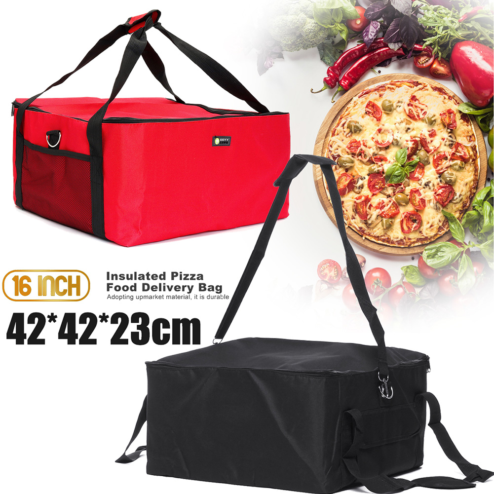 16 Inch Storage Holder Durable Insulated Red Box Portable Fresh Food Strength Thermal Container Oxford Cloth Pizza Delivery Bag