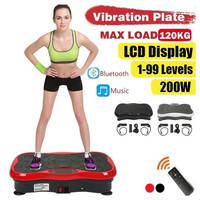 120KG Max Bearing Exercise Fitness Slim Vibration Machine Trainer Vibrate Plate with 2 Resistance Bands Bluetooth Audio USB HWC