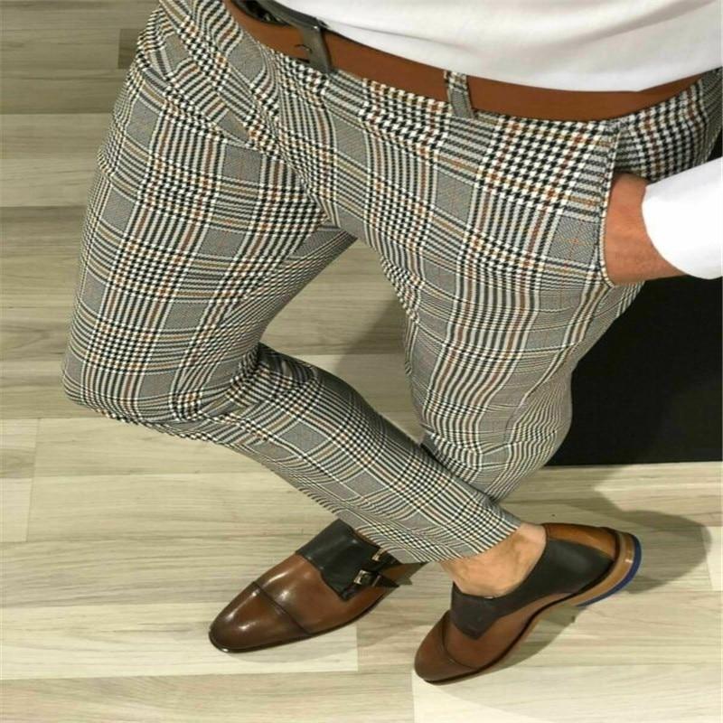 Fashion Plus Size 3XL Men Casual Slim Fit Skinny Business Formal Suit Dress Pants Plaid Slacks Trousers New Drop Shipping