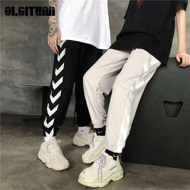 Ins Harajuku Hip Hop Street Wild Personality Reflective Stitching Loose Men And Women Casual Fashion Loose Sports Beam Pants