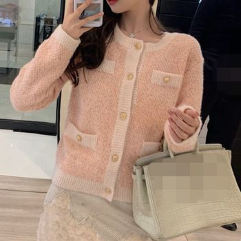 Woman Cardigans Runway 2019 Autumn Winter Single Breasted Pink Blue Apricot Sweaters