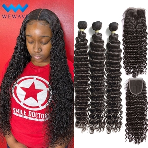 wet and wavy bundles with closure 30 inch Deep Wave Human Hair 3 4 Curly Extension Brazilian Water Weave Bundle with Hd Closure(China)