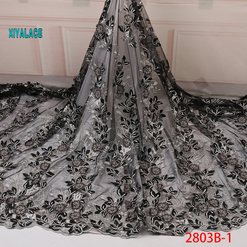 2019 High Quality Mesh Embroidery Applique 3D Flower Tulle Nigerian Lace Fabrics For Bridal 3D Beads Lace Fabric YA2803B-1