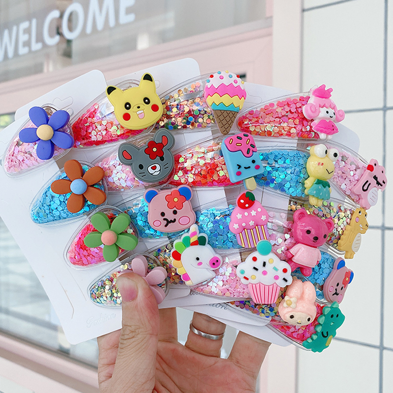 New 2020  Girl Hairpins Color Quicksand Hairgrips Transparent Children's Fruit Hair Clips PVC Clip BB Clip Barrettes Headdress