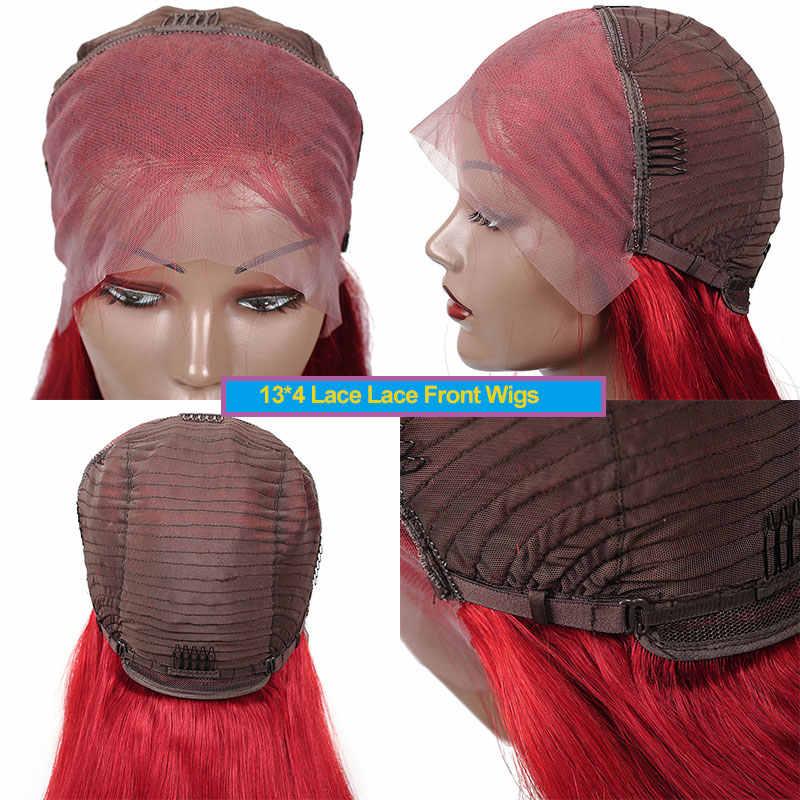 Remyblue 13*4 99J Red Lace Front peruki z ludzkich włosów Burgundy prosto peruwiański peruki z ludzkich włosów dla czarnych 150 Remy koronkowa peruka na przód
