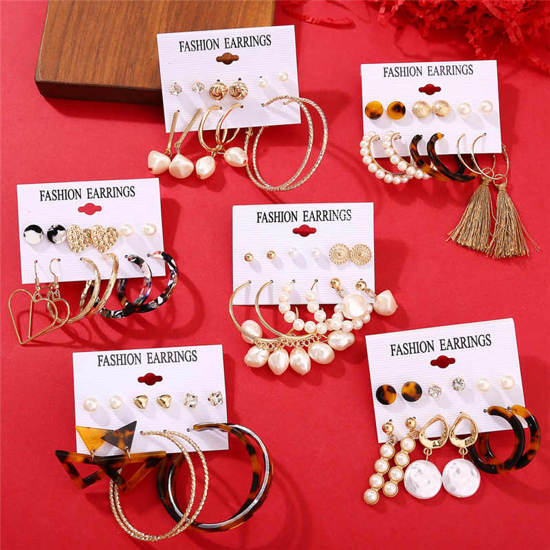 IF YOU New Style Fashion Pearl Acrylic Drop Earrings For Women Trendy Geometric Round Statement Dangle Earrings Set Jewelry 2019