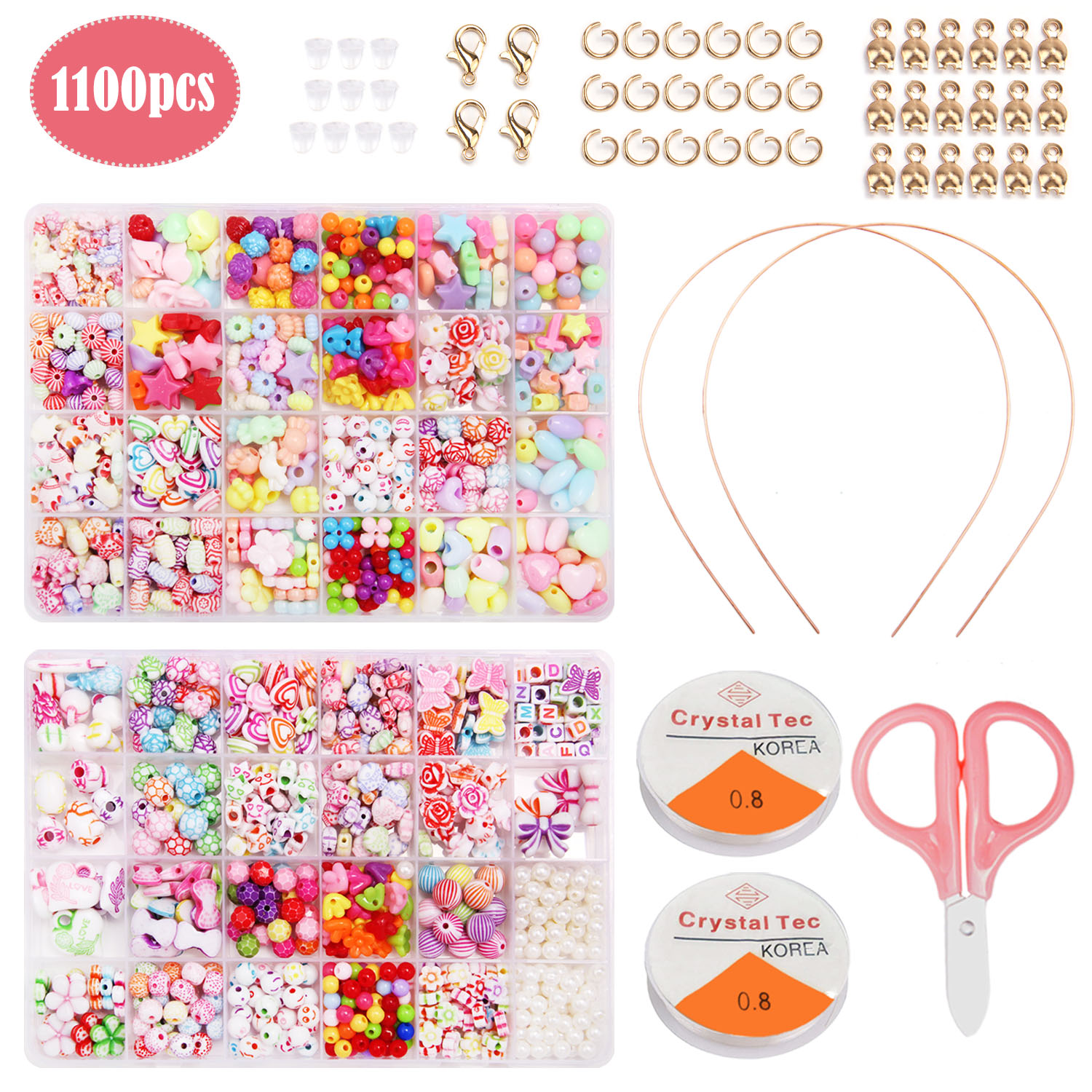 1100pcs Acrylic Crafts Bracelets Beads With Scissors String Hair Hoop For Kids Jewelry Bracelet Necklace Making Supplies